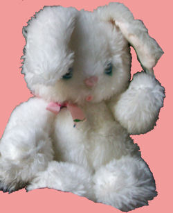 70's Knickerbocker White Furry Rabbit