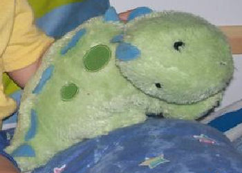 , DISCONTINUED – Koala Baby GREEN STEGOSAURUS with BLUE SPOTS & SPIKES