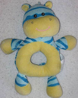 Koala Baby Blue & Yellow Zebra Donut Hole Rattle