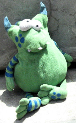 Koala Baby Green Monster with Blue Spots & Stripe Legs