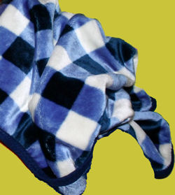 2002 Koala Baby Navy Blue Plaid Blanket