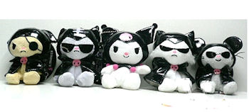 Sanrio Small Black & White Kuromi Hello Kitty Dolls