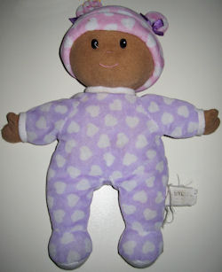 2006? Lamaze Cuddle Up Black Doll with Purple PJ's & Cap with White Hearts