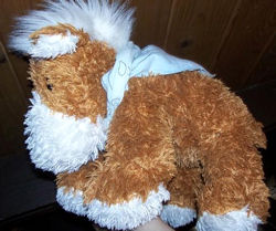 Large Shaggy Chenille Brown & White Pony
