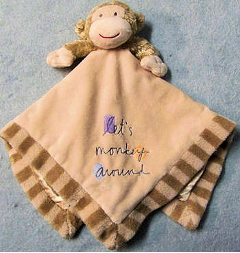 , Searching – Messages from the Heart Let's Monkey Around Tan Monkey Rattle Blankie Stripe Hem & Satin Lining