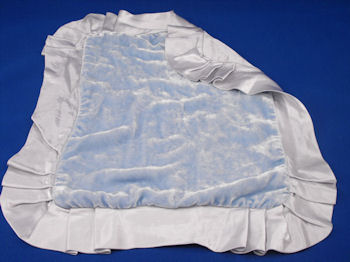 Little Giraffe Blue Velour Blankie with Blue Satin Lining & Ruffle Binding