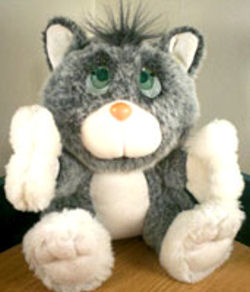 , FOUND – 80's Galoob LOST n FOUNDS GRAY CAT – DRINKS from BOTTLE & CRIES TEARS
