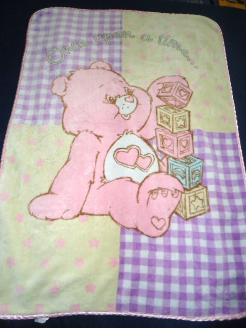 Love a Lot Care Bear Baby Blanket Once Upon a Time Pink Blocks Purple Yellow