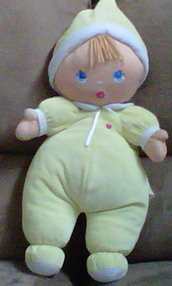 Large 2007 Light Brown Yarn Hair Doll Wearing Yellow Sleeper & Tassel Nightcap with White Trim & Heart on Chest
