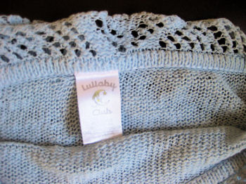 Lullaby Club Blue Baby Blanket with Crochet Trim