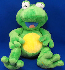 , FOUND – 2006 Luv n' Care GREEN & YELLOW TICKLE TOES FROG – GIGGLES