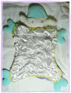 Manhattan Toy Aqua and White Lamb Blankie with Shirred Satin Body and Yellow Lining