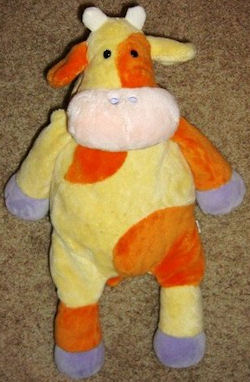 2004? Manhattan Toy Small Orange, Yellow, and Purple Cow