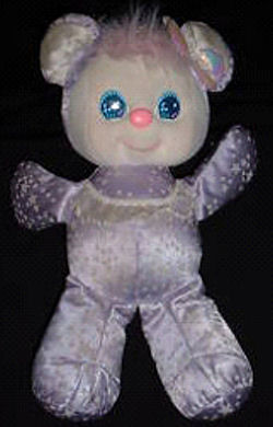 , DISCONTINUED – 80's Mattel SPARKLINS BEAR with STARS on PURPLE SATIN