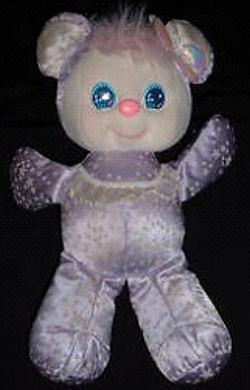80′s Mattel SPARKLINS BEAR with STARS on PURPLE SATIN