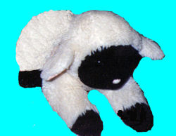 80's White Lying Down Lamb with Black Face & Hooves