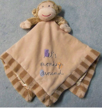 tan monkey blankie, FOUND But Still Searching – TAN MONKEY BLANKIE with STRIPE HEM, SATIN LINING