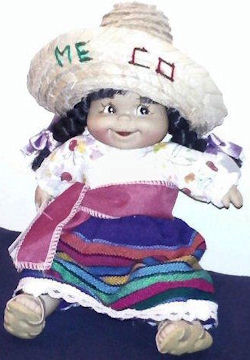 , Searching – MEXICAN DOLL with BLACK PIGTAILS Wearing PRINT & STRIPE DRESS, SASH, SANDALS, SOMBRERO Printed MEXICO