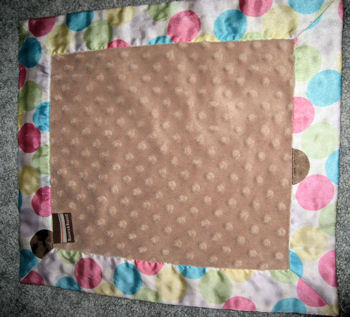 Blankets & Beyond Minky Dots Light Brown Blankie with Multi-Color Dots