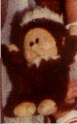 80's Brown Monkey with White Fur Trimmed Red Fez