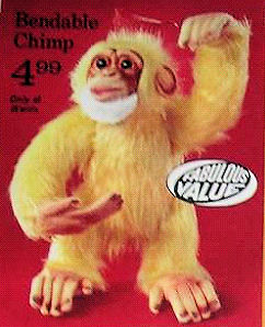 Vintage Montgomery Ward's Yellow Bendable Monkey