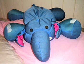 , FOUND – MOSHI Microbead LARGE BLUE Lying Down ELEPHANT + LARGE WHITE LAMB with PINK FACE & BLACK HOOVES Top Priority