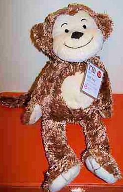 2008 Mothercare Brown Monkey with Cream Face, Tummy, Hands & Feet