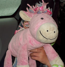 2005 Mothercare Pink Floppy Pony with White Face & Hooves & Yarn Mane & Tail