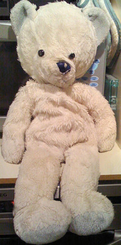 , Searching – 80's Mothercare LARGE WHITE BEAR with BLUE EARS & FEET