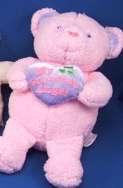 MTY International Pink Bear Holding My Guardian Angel Heart Plays Jesus Loves Me