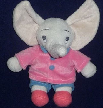 GUND Mumfie Gray Elephant with Pink Coat & Blue Pants