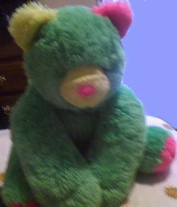 90's? Floppy Neon Green, Pink, Yellow Lying Down Bear