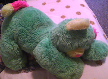 , Searching – 90's? NEON GREEN Floppy Lying Down CAT? BEAR with PINK & YELLOW MUZZLE, EARS & FEET