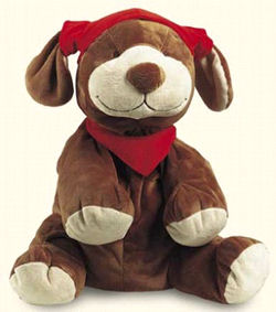 Noukie Brown Dog with Red Cap and Scarf