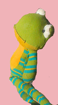Old Navy Green Frog with Long Blue & Yellow Striped Arms and Legs