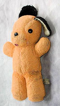 , Searching – 60's ORANGE Terry Cloth DOG with BLACK EARS