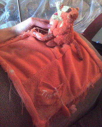 Orange Tigger Blankie with Pocket with Attached Dragonfly