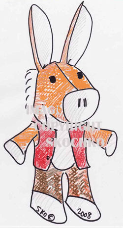 , FOUND – 70's ORANGE & WHITE DONKEY? HORSE? Wearing a RED HAT – VEST – BROWN PANTS