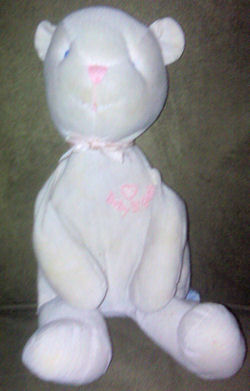Oshkosh Baby B'Gosh White with Pink Stripes Teddy Bear with a Pink Heart on Chest