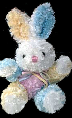 , FOUND – DanDee Pink Blue Yellow CHENILLE BUNNY