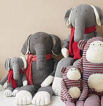Pottery Barn Kids PBK Large Gray Sock Elephant