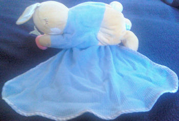 Eden Peter Rabbit with Blue Blankie from Tummy