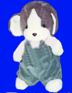 , Searching – Large BROWN and WHITE RABBIT / BLUE CORDUROY OVERALLS