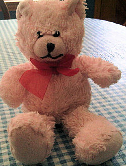 DanDee Pink Bear with Big Red Organdy Bow