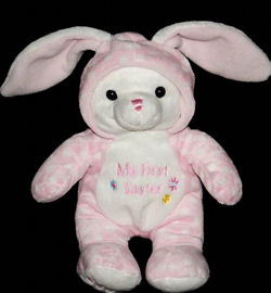 , FOUND – Walmart MY FIRST EASTER Pink RABBIT with WHITE POLKA DOTS Wearing a HOOD