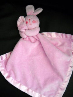, Searching – PINK RABBIT BLANKIE with STITCHED CHEEKS & WHISKERS