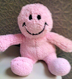 Pink Chenille Smiley Face Doll