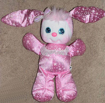 80's Mattel Sparklins Pink Satin Rabbit with Stars