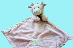 Aurora Baby Pink and White Giraffe Blankie with Moon & Cloud