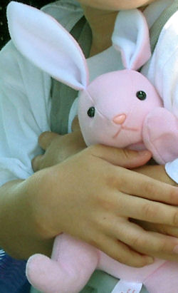 Pink & White Rabbit with Pink Plastic Nose & No Whiskers
